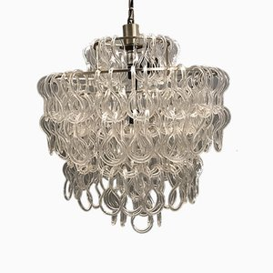 Large Glass Chandelier by Angelo Mangiarotti for Vistosi, 1970s