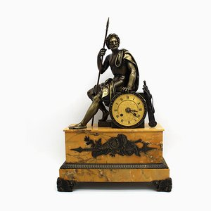 19th Century Empire Bronze and Marble Clock
