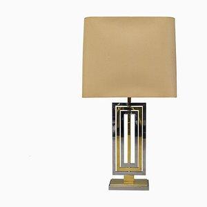 Lámpara de mesa italiana de cromo y latón de Willy Rizzo, años 70