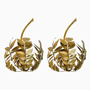 Mid-Century Italian Brass Sconces by Tommaso Barbi, 1970s, Set of 2