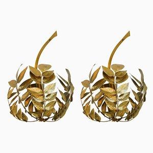 Mid-Century Italian Brass Sconces by Tommaso Barbi, 1970s, Set of 2