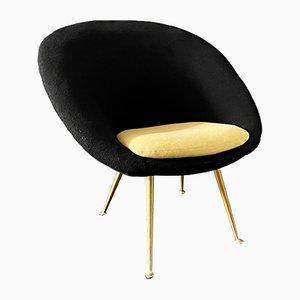 Italienischer Sessel in Schwarz & Goldgelb, 1950er