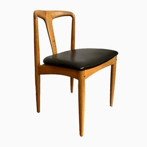 Danish Oak and Black Leather Dining Chair, 1960s