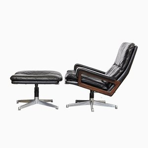 Rosewood Lounge Chair and Ottoman Set by Andre Vandenbeuck for Strässle, 1960s
