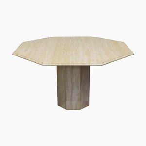 Mesa de comedor italiana de mármol travertino, años 70