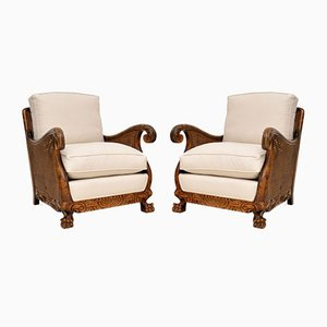 Vintage Swedish Satin and Birch Bergere Armchairs, 1920s, Set of 2