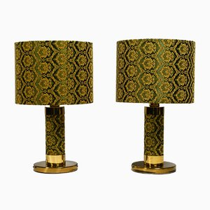 Brass and Embroidered Silk Table Lamps, 1970s, Set of 2