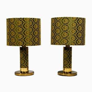 Lámparas de mesa de latón y seda bordada, años 70. Juego de 2