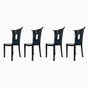 Mid-Century French Black Beech Dining Chairs, Set of 4