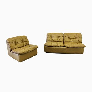 Divano a due posti in pelle color cognac e Club Chair di COR Dreipunkt, anni '70