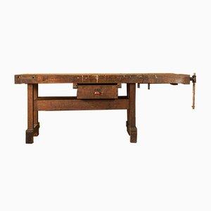 Tavolo da lavoro in legno massiccio, anni '50
