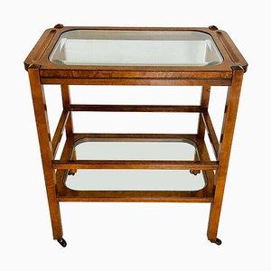 Carrello vintage in legno e vetro, anni '50