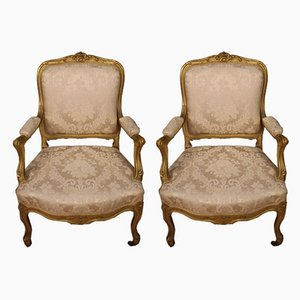Louis XV Style French Gilded Armchairs, 1920s, Set of 2