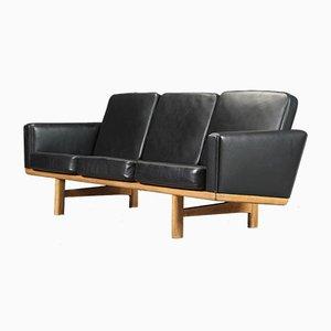 Schwarzes Modell 236 3-Sitzer Ledersofa von Hans J. Wegner für Getama, 1960er
