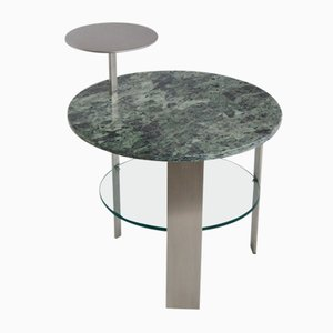 Green Issoire Marble & Satin Stainless Steel Coffee Table by Cupioli