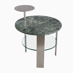 Table Basse en Marbre Vert et Acier Inoxydable Satiné par Cupioli