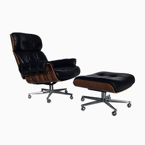 Rosewood and Leather Lounge Chair and Ottoman Set by Stoll Giroflex, 1960s