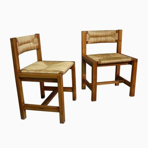 Vintage Wooden and Straw Dining Chairs, 1970s, Set of 2