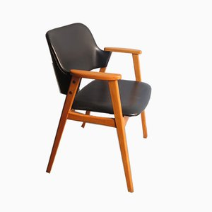 Black Leatherette and Birch Armchair, 1960s