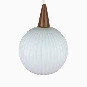 Lámpara de techo de teca y opalina, años 60