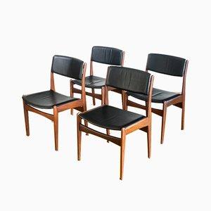 Sedie da pranzo in teak e pelle di Poul Volther per Frem Røjle, Danimarca, anni '60, set di 4