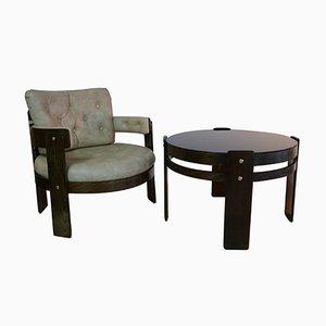Juego de sillón de cuero escay con laminado de haya y mesa de vidrio, años 70