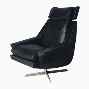 Mid-Century Danish Black Leather Lounge Chair, 1960s