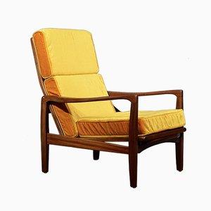 Dänischer Mid-Century Sessel mit Gestell aus Teak & Samtpolster von Ib Kofod Larsen, 1960er