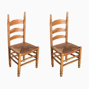 Französische Beistellstühle aus Eiche, 1920er, 2er Set