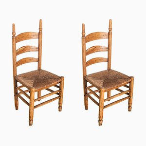 French Oak Side Chairs, 1920s, Set of 2