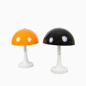 Mid-Century Black Table Lamps, Set of 2