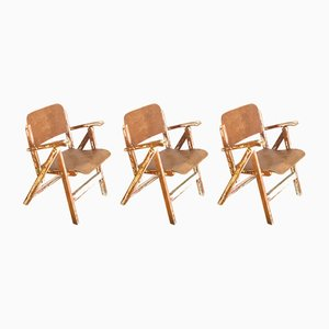 Vintage Spanish Beech Folding Chairs, 1960s, Set of 3