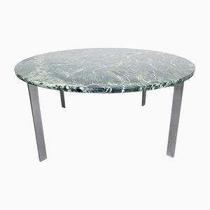 Chromed Steel and Green Marble Coffee Table from Knoll Inc. / Knoll International, 1960s