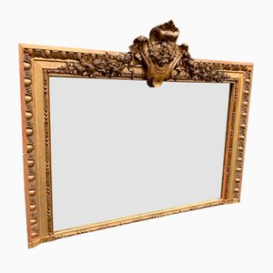 19th Century French Carved Wood and Gesso Overmantle Mirror
