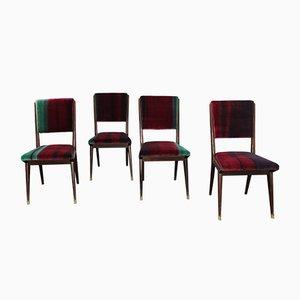 Mid-Century Esszimmerstühle mit Samtbezug, 1950er, 4er Set