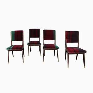 Mid-Century Velvet Dining Chairs, 1950s, Set of 4