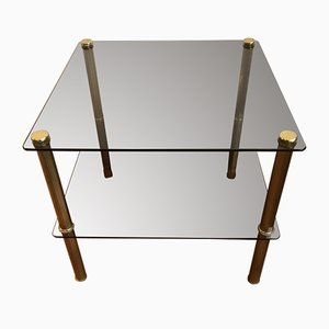 Golden Brass and Tinted Glass Coffee Table, 1970s