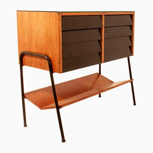 French Black Wood, Iron, Formica, and Glass Dresser, 1960s