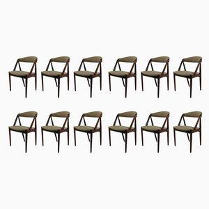 Chaises de Salle à Manger Mid-Century en Teck par Kai Kristiansen, 1960s, Set de 12