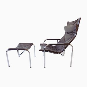 Model HE1106 Lounge Chair and Ottoman Set by Hans Eichenberger for Strässle, 1960s