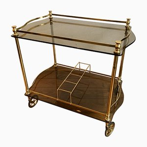 Golden Brass and Dark Tinted Glass Bar Trolley, 1960s