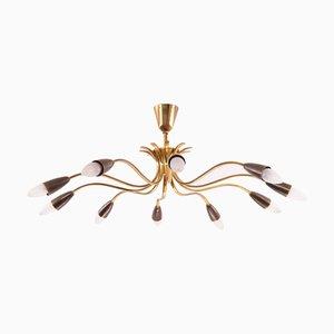 Lámpara de araña Mid-Century de latón con 10 brazos