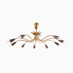 Mid-Century Brass 10-Arm Chandelier