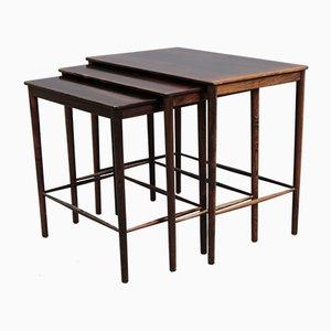 Tables d'Appoint Mid-Century en Palissandre par Winding pour Poul Jeppesens Møbelfabrik, 1960s, Set de 3