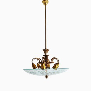 Italienische Deckenlampe aus Kristallglas & Messing, 1950er
