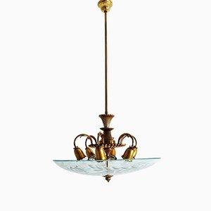 Lámpara de techo italiana de cristal y latón, años 50