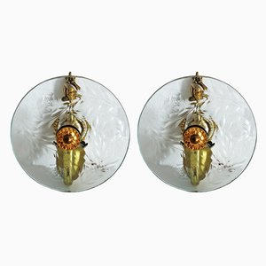 Italian Crystal Glass and Brass Sconces, 1950s, Set of 2