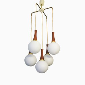 Brass and Teak Ceiling Lamp, 1960s