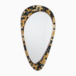 Spiegel mit Rahmen aus Messing & goldenem Mosaik, 1960er