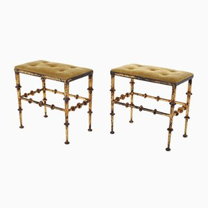 Wrought Iron and Gold Velvet Stools, 1950s, Set of 2